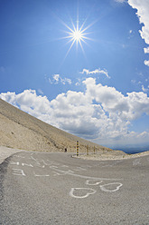 France, Mediterranean Area, Provence, Vaucluse, Road at mont ventoux with love symbol - RUEF000742