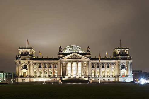Germany, Berlin, View of Reichstag building at night - FOF003783