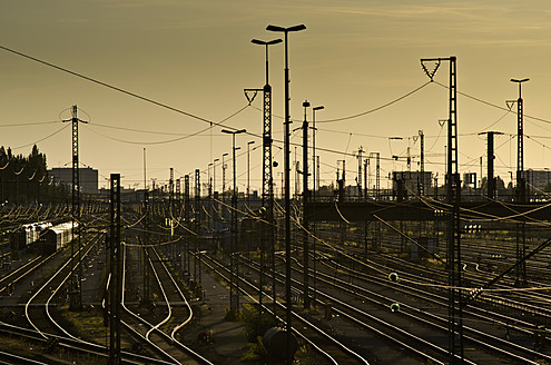 Germany, Munich, View of railway tracks and switches with power lines - LFF000304