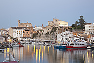 Spain, Menorca, View of Ciutadella with town hall and cathedral - MSF002512