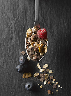 Cereal with fruits and chocolate in spoon, close up - KSWF000776