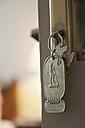 Egypt, Luxor, Key in hotel door, close up - MSF002536