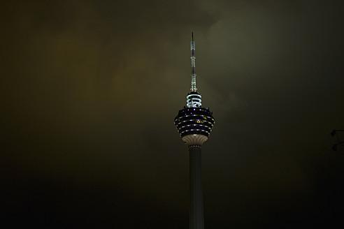 Malaysia, Kuala Lumpur, View of Kuala Lumpur Tower at night - MBEF000231