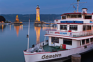 Germany, Lindau, View of port entrance with ship moored at harbour - SH000632