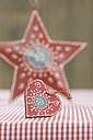 Heart and star shape christmas decoration, close up - ASF004500