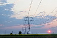 Germany, Bavaria, View of electricity pylon in rapeseed field at sunset - FOF003868