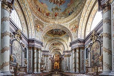 Austria, Lower Austria, Mostviertel, Herzogenburg, View of Collegiate Church with fresco painting - SIE002214