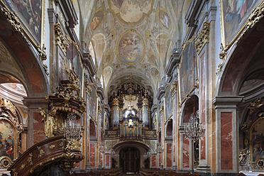 Austria, Lower Austria, Mostviertel, St. Poelten, View of Dom Maria Himmelfahrt Cathedral with fresco painting - SIE002218