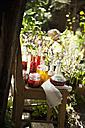 Austria, Salzburg, Flachau, Variety of herbal oils on chair - HHF003892