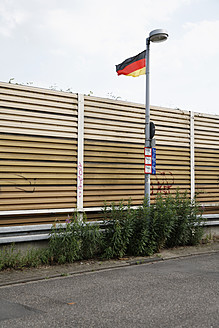 Germany, Oberhausen, Noise protection with German Flag - ANB000103