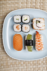 Germany, Variety of sushi on plate - ANBF000025