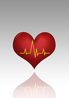Heart symbol with line graph against grey background - CSF015812