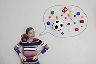 Girl with balls in speech bubble - BAEF000338