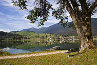 Austria, Tyrol, Vorderthiersee,  View of Thiersee Lake with town in background - WWF002015