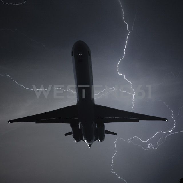 Germany, Offenbach, View of lightning with plane - THF001174