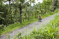 Indonesia, Bali, Tegalalang, Man cycling through country road - DSF000216