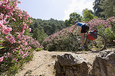 Turkey, Fethiye, Mid adult woman riding bicycle - DSF000376