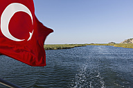Turkey, Dalyan Delta, View of turkish flag - DSF000347