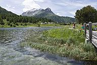 Switzerland, Mature man cycling by Lake Sils - DSF000393