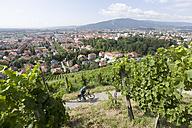 Slovenia, Maribor, Mature man cycling through vineyard - DSF000425