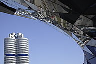 Europe, Germany, Bavaria, Munich, View of BMW World with BMW building in background - TC002332