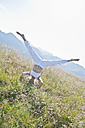 Austria, Salzburg County,, Young woman doing headstand in alpine meadow - HHF004065