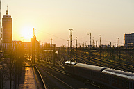 Germany, Bavaria, Munich, Main station during sunset - LFF000425