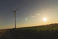 Germany, Saxony, View of wind turbine in field - MJF000014
