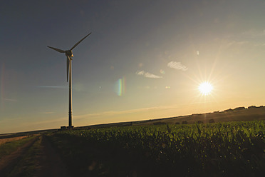 Germany, Saxony, View of wind turbine in field - MJF000014