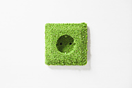 Electrical outlet covered with grass against white background - RBF000805