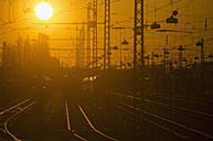 Germany, Bavaria, Munich, View of main station at sunset - LFF000439