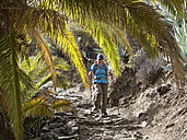 Spain, La Gomera, Woman hiking at Barranco de la Laja - SIEF002567