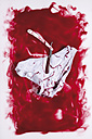 Razor and slip in blood on white background - MUF001212