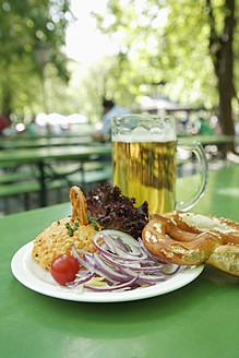 Germany, Bavaria, Munich, Vegetarian dish with mug of beer, close up - TCF002611