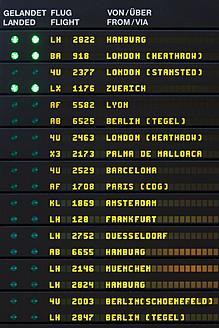 Germany, Baden Wurttemberg, Stuttgart, Arrival departure board in airport - WDF001232