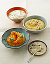 Variety of dips with sesame seeds, close up - KSWF000841