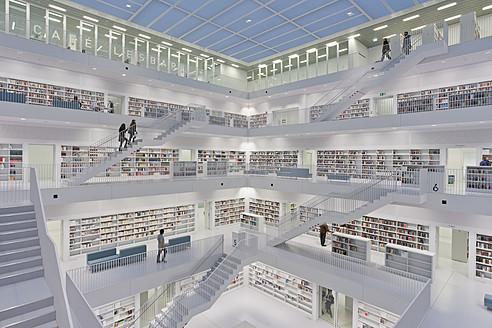 Germany, Baden Wuerttemberg, Stuttgart, Stadtbibliothek am Mailander Platz, Public library - WD001248