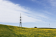 Germany, Bavaria, View of spring meadow, high voltage power line in background - SIEF002701