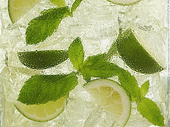 Mojito cocktail with mint , close up - KSWF000976