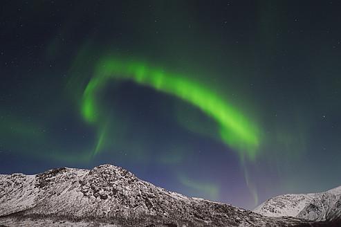 Norway, Troms, View of Aurora Borealis near Tromso - RUEF000921