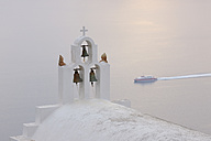 Greece, Bell Tower of whitewashed church in Imerovigli at Santorini - RUEF000937