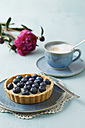 Blueberry tart with vanilla pudding and cappuccino on table - ECF000018