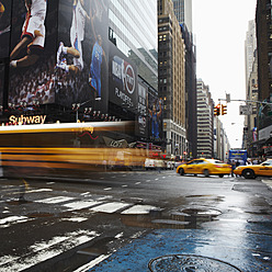 USA, New York, View of times square traffic with billboards - TL000680