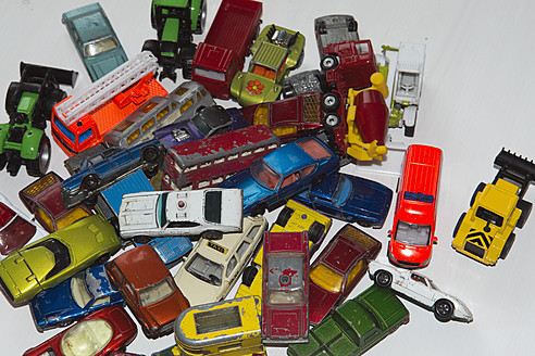 Collection of toy cars on white background - AWDF000690