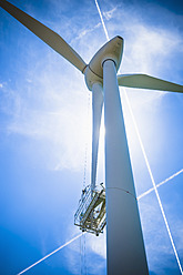 Germany, Saxony, View of wind turbine against sky - MJ000069