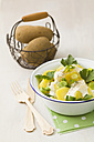Potato salad garnished with spring onions, parsley and mayonnaise, close up - ECF000033