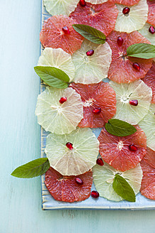 Slices of orange and pink grapefruit salad garnished with pomegranate seeds and mint on tray - ECF000068