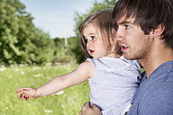 Germany, Cologne, Father and daughter in meadow - PDYF000024
