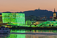 Austria, Linz, View of Ars Electronica Center and Postlingberg Church - EJW000093