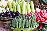India, Uttarakhand, Haridwar, Various vegetables stand in market - FOF004261